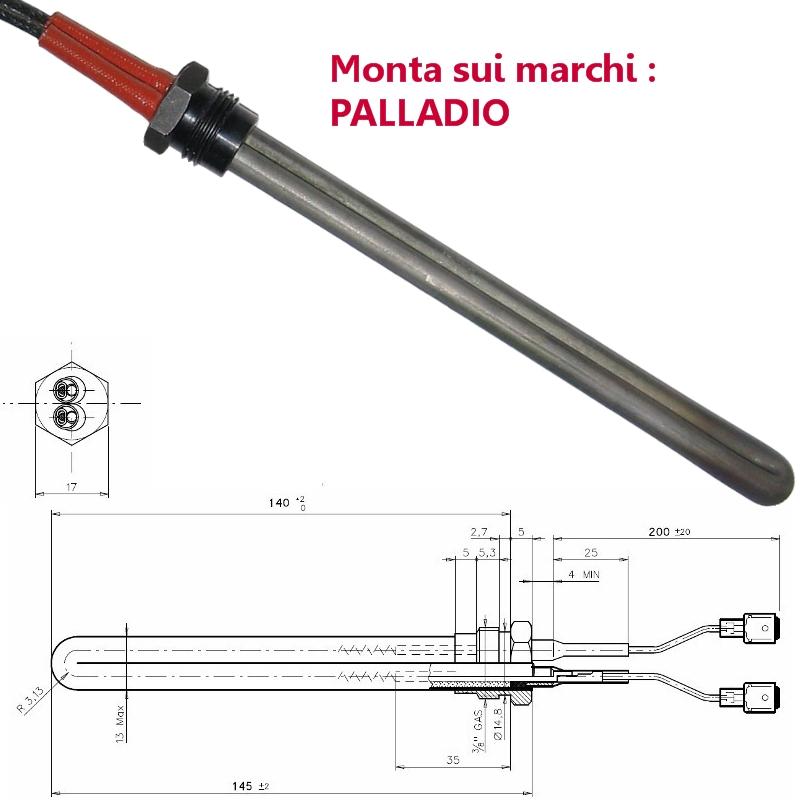 Resistenza Accensione Stufe A Pellet In Ceramica Flangia L.113mm 240w Palazzetti