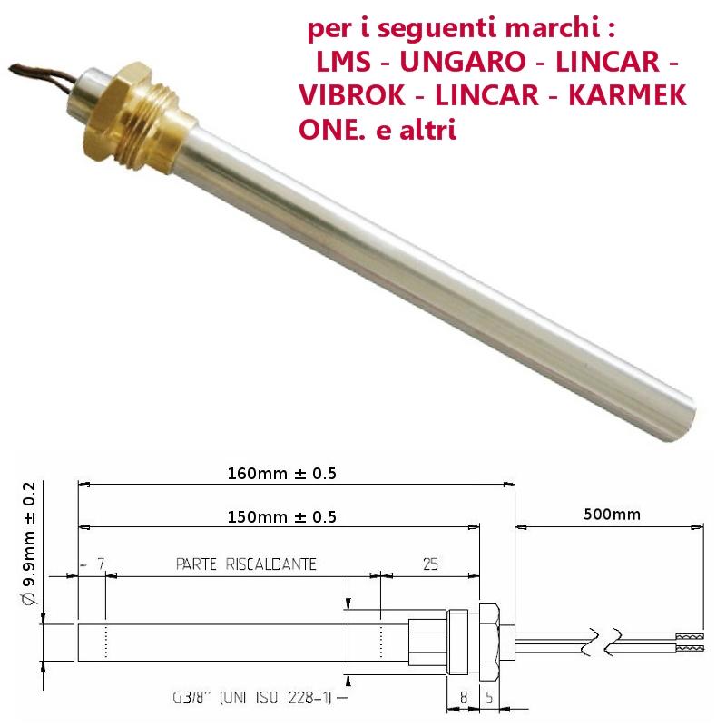 UNGARO Candeletta accensione resistenza 280W 160 mm Diam 9,9 stufa pellet LMS