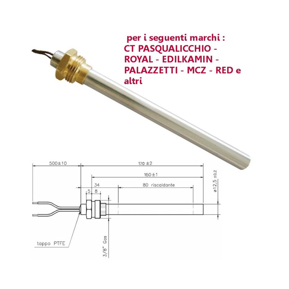 Resistenza Candeletta Stufa A Pellet 12,5mm 350w 160mm Clam Edilkamin Mcz Royal Palazzetti Olimpia Splendid