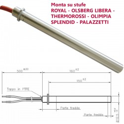 Resistenza Candeletta stufe a pellet 12,5 350W 16cm Palazzetti thermorossi ROYAL