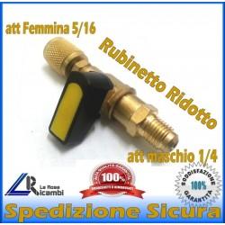 RUBINETTO RIDOTTO VALVOLA SFERA TUBO CARICA FREON DA 5/16F e 1/4M