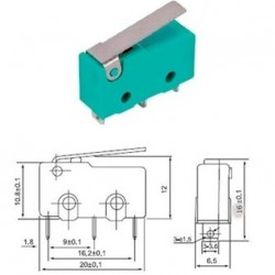 Micro switch pulsante 10A con leva 3 mini faston ferri