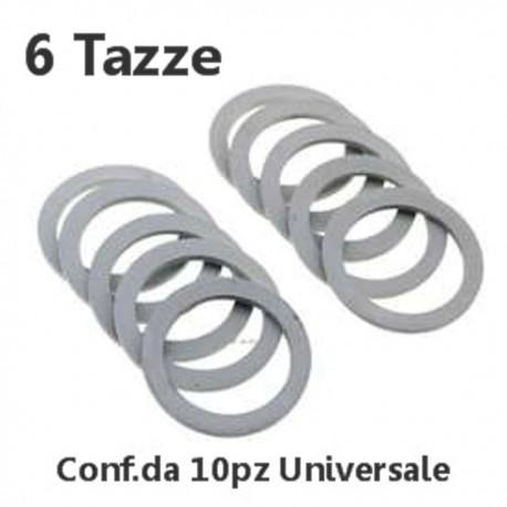 Conf.10pz GUARNIZIONE GOMMA CAFFETTIERA MOKA 6 TAZZE UNIVERSALE