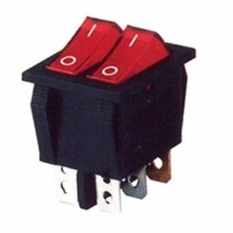 Doppio Interruttore 22x30 luminoso rosso 16A 6 faston STUFE AD OLIO E VARIE